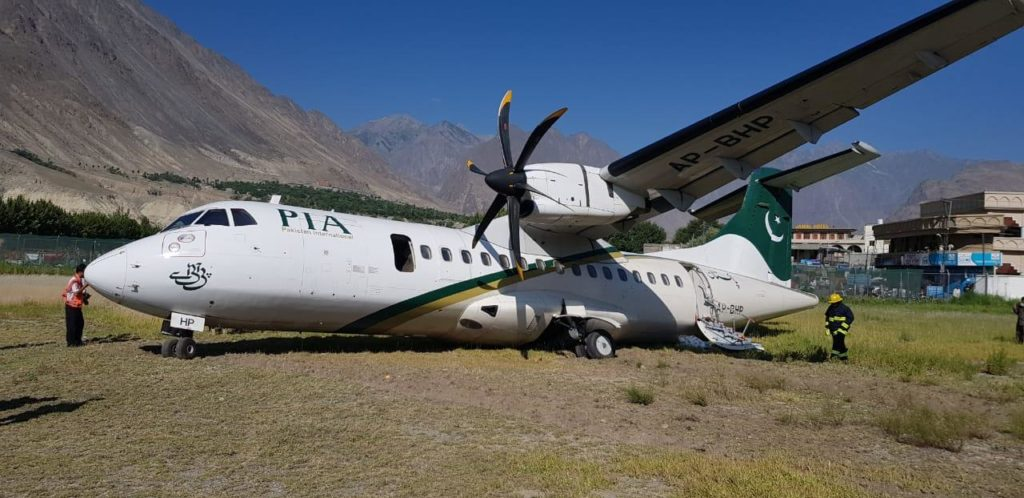 pia 2 1024x498 - PIA Passenger Plane skids off runway in Gilgit Baltistan
