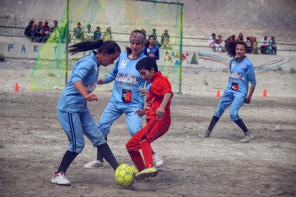 Pahaadi Khilaadi Marvi is a 12 year old player from Gulmit marked as one of the best players from GBGFL. - Karishma & Sumaira, The founder of Gilgit-Baltistan Girls Football League