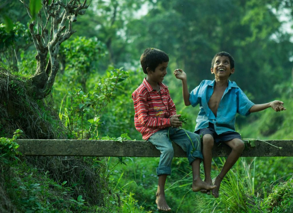two boys sitting on gray wood plank 2738167 1024x745 - پرانے دوست